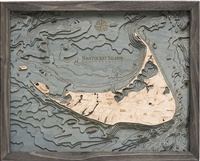 Nantucket Island Nautical Topographic Art: Bathymetric Real Wood Decorative Chart with driftwood grey frame