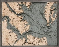 Norfolk Nautical Topographic Art: Bathymetric Real Wood Decorative Chart | Driftwood Grey