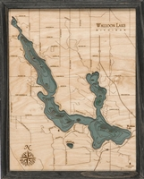 Walloon Lake Nautical Topographic Art: Bathymetric Real Wood Decorative Chart | Driftwood Grey Frame