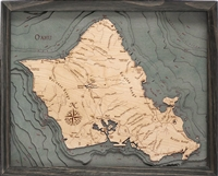 3D Island of Oahu Nautical Real Wood Map Depth Decorative Chart Driftwood Grey