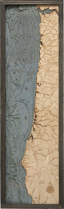 Oregon Coast Nautical Topographic Art: Bathymetric Real Wood Decorative Chart | Driftwood Grey