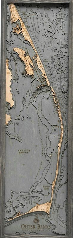 3D Outer Banks Nautical Real Wood Map Depth Decorative Chart | Driftwood Grey Frame