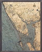 Charlotte Harbor Nautical Topographic Art: Bathymetric Real Wood Decorative Chart