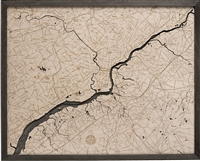 Philadelphia Topographic Art:  Real Wood Decorative Map | Driftwood Grey Frame