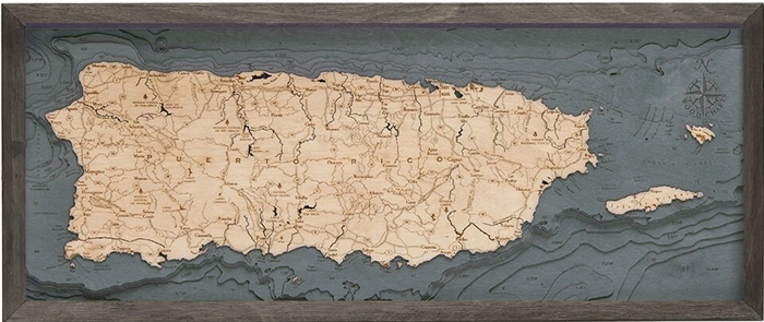 Puerto Rico Nautical Topographic Art: Bathymetric Real Wood Decorative Chart | Driftwood Grey Frame