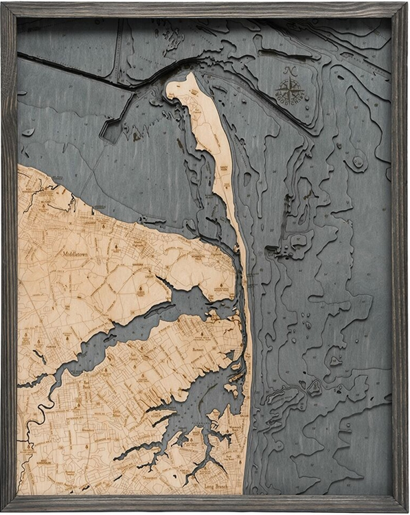 Rumson Nautical Topographic Art: Bathymetric Real Wood Decorative Chart | Driftwood Grey