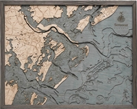 Savannah Nautical Topographic Art: Bathymetric Real Wood Decorative Chart | Driftwood Grey