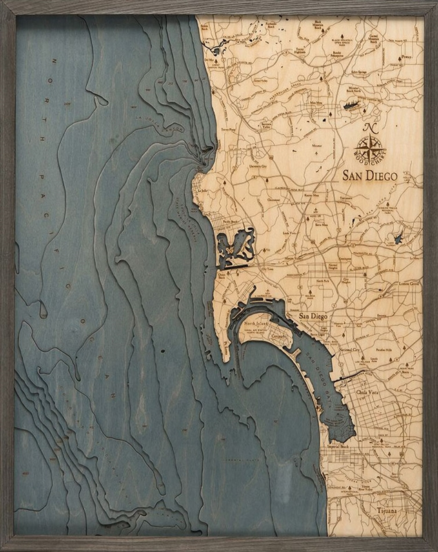 San Diego 3D Nautical Real Wood Map Depth Decorative Chart | Driftwood Grey