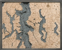 Seattle Nautical Topographic Art: Bathymetric Real Wood Decorative Chart | Driftwood Grey Frame