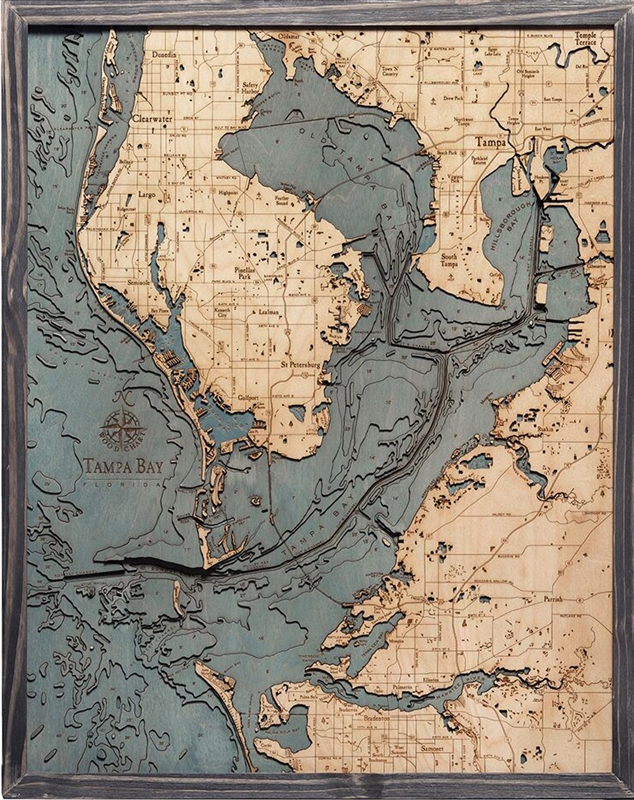 Tampa Bay Nautical Topographic Art: Bathymetric Real Wood Decorative Chart