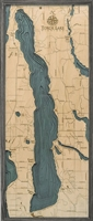 Torch Lake Nautical Topographic Art: Bathymetric Real Wood Decorative Chart