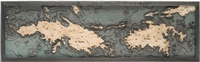 3D Virgin Islands Nautical Real Wood Map Depth Decorative Chart | Driftwood Grey Frame