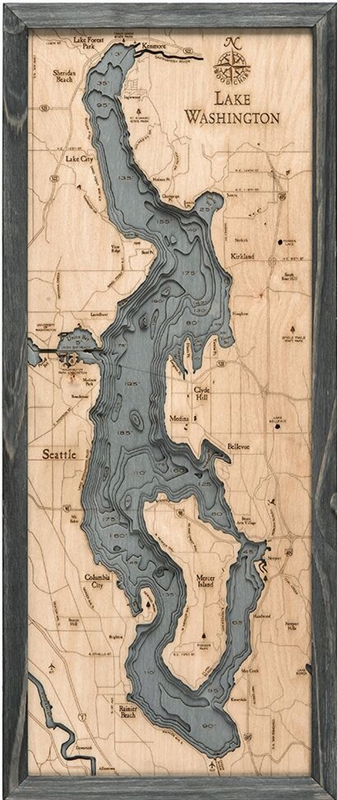 3D Lake Washington Nautical Real Wood Map Depth Decorative Chart | Driftwood Grey Frame