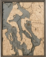 Whidbey & Camano Islands Nautical Topographic Art: Bathymetric Real Wood Decorative Chart | Driftwood Grey