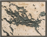 3D Lake Winnipesaukee Nautical Real Wood Map Depth Decorative Chart
