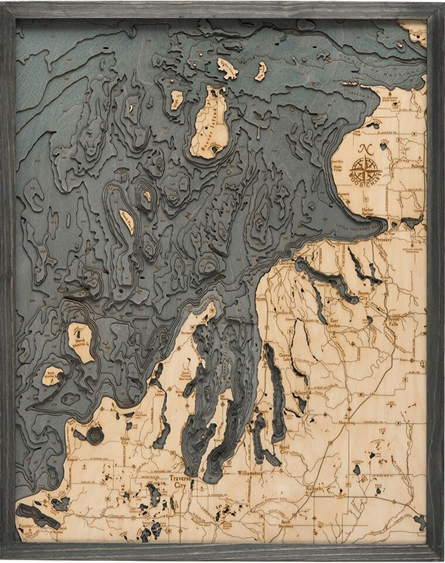 3D Northwest Michigan Nautical Real Wood Map Depth Decorative Chart | Driftwood Grey