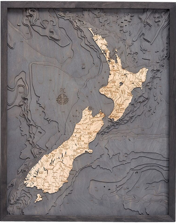 New Zealand Nautical Topographic Art: Bathymetric Real Wood Decorative Chart | Driftwood Grey