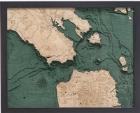 3D Golden Gate / San Francisco Nautical Real Wood Map Depth Decorative Chart | Original Dark Frame
