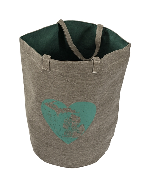 Grey Green Heart Great lakes Tote Bag