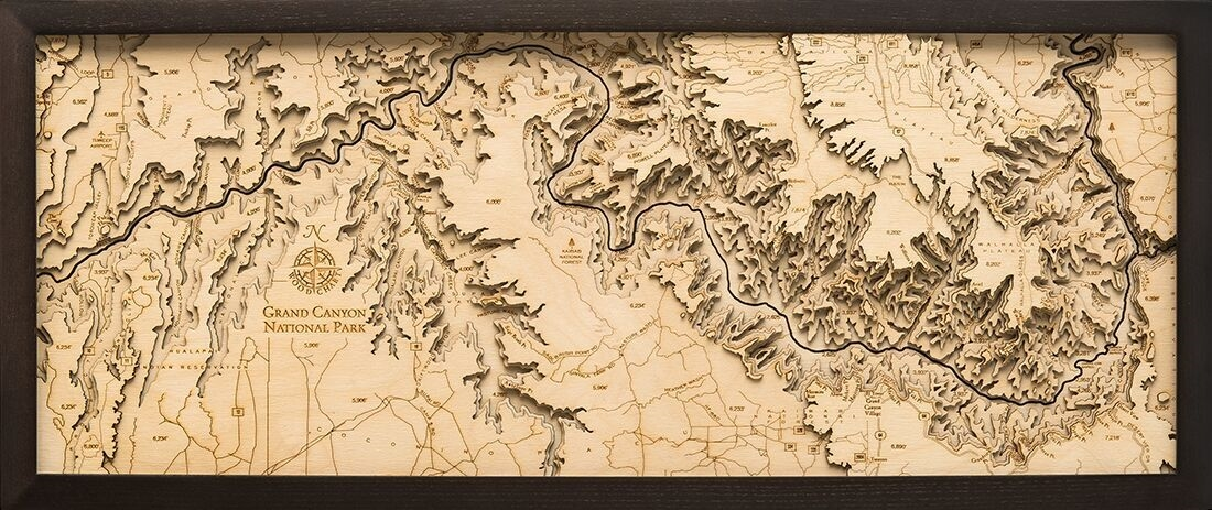 Topographic Map Of Maui.Custom Wooden Topographic Map Of The Grand Canyon