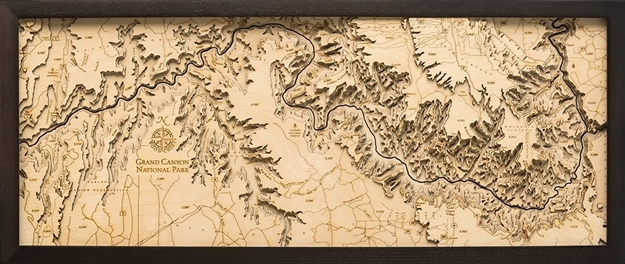 Grand Canyon Wood Topographic Art:  Real Wood Decorative Map.