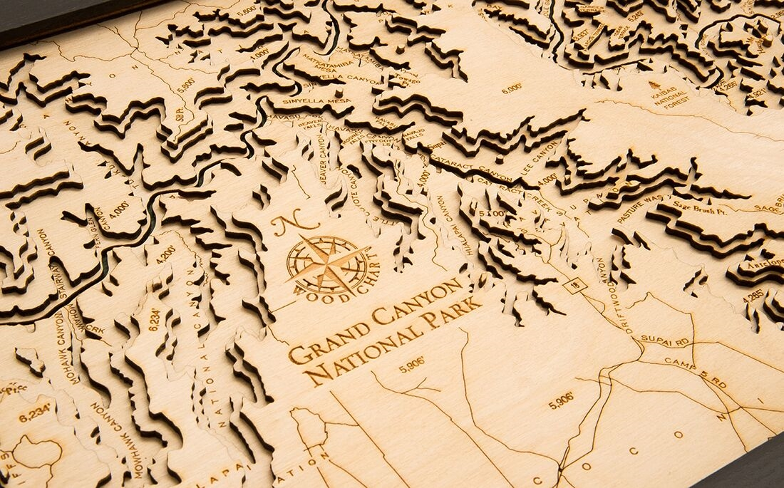Topographic Map Of The Grand Canyon.Custom Wooden Topographic Map Of The Grand Canyon