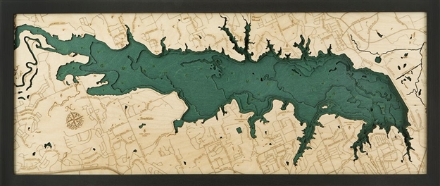 Grapevine Lake Nautical Topographic Art: Bathymetric Real Wood Decorative Chart