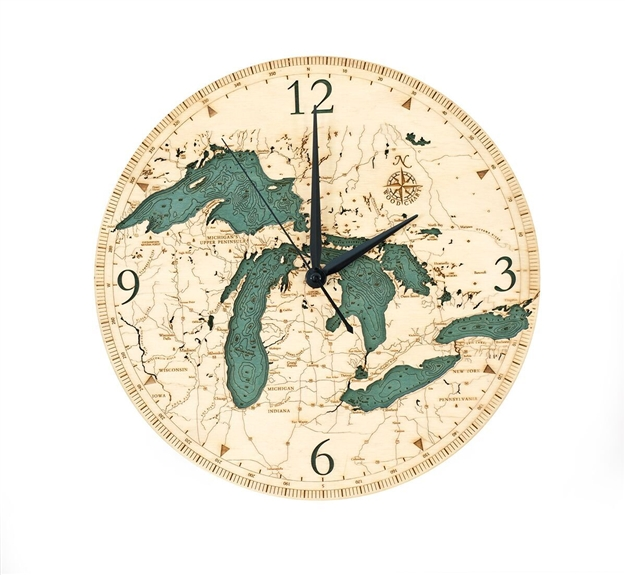 3D Great Lakes Real Wood Decorative Clock