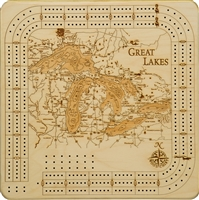 Great Lakes Real Wood Decorative Cribbage Board
