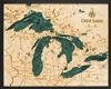 Great Lakes Nautical Topographic Art: Bathymetric Real Wood Decorative Chart