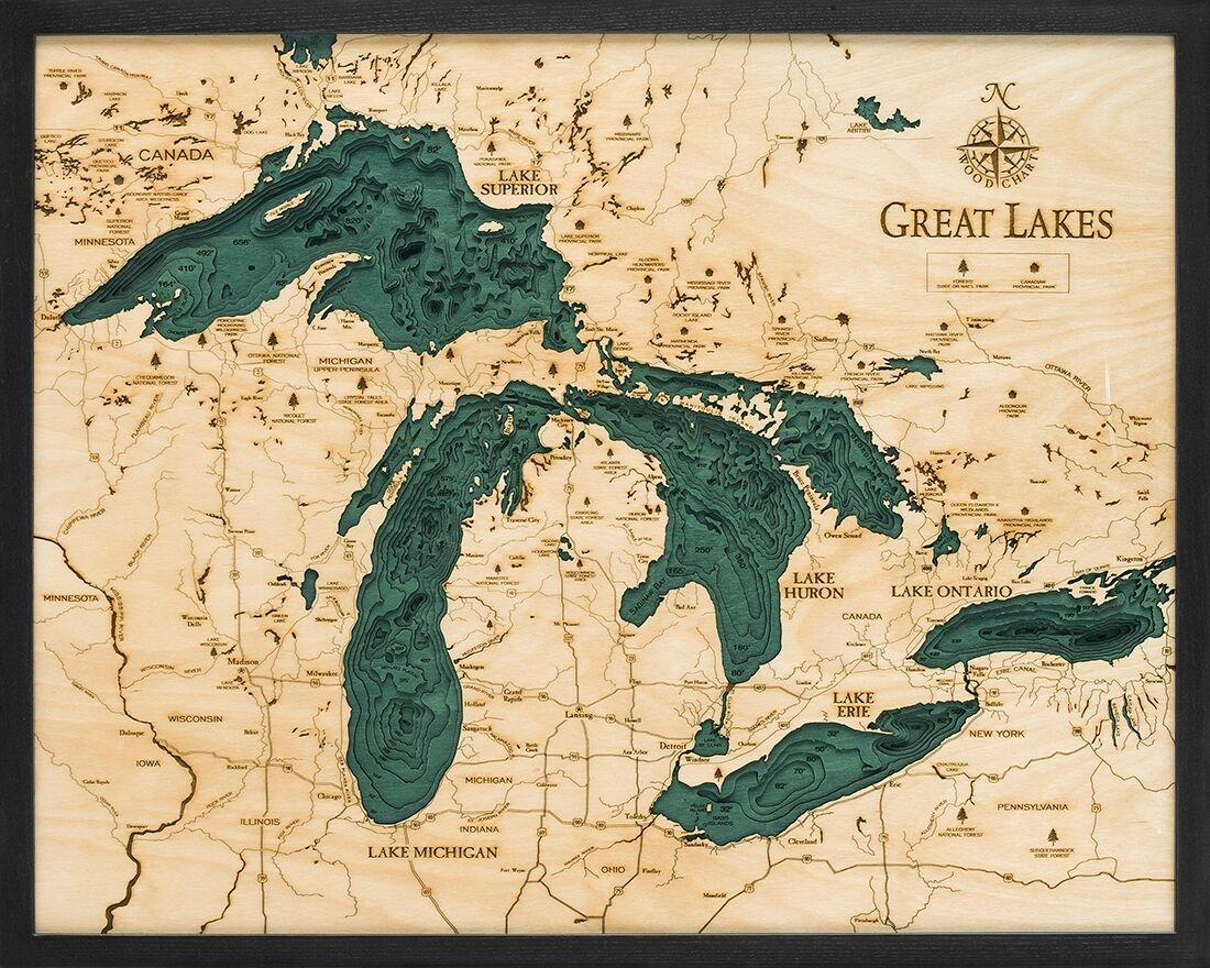 Great Lakes Nautical Topographic Art Bathymetric Real Wood Decorative Chart