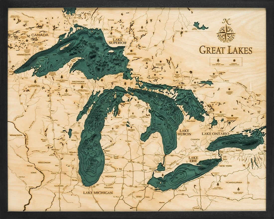topographic map of lake erie 3d Great Lakes Wooden Topographic Map Carved Lake Art