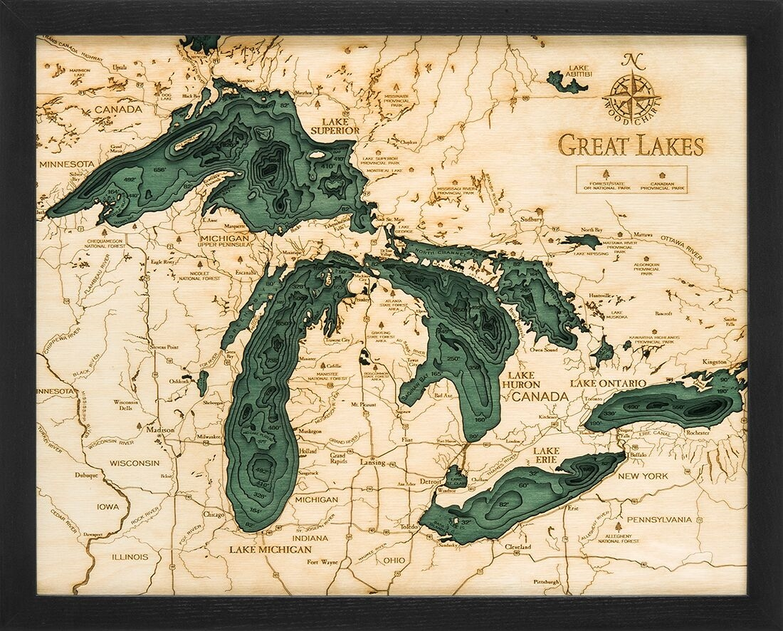 Custom Wood Charts Of The Great Lakes From Carved Lake Art