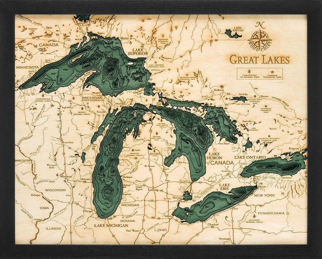 Great Lakes 3-D Nautical Wood Chart 16 x 20