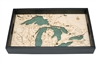 Great Lakes Nautical Real Wood Map Decorative Serving Tray