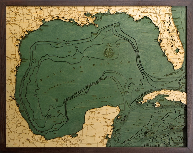 3D Gulf of Mexico Nautical Real Wood Map Depth Decorative Chart