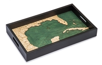 Gulf of Mexico Nautical Real Wood Map Decorative Serving Tray