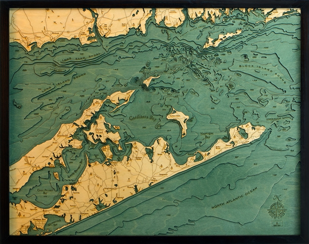 3D Long Island Sound Nautical Real Wood Map Depth Decorative Chart