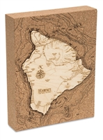 Hawaii the Big Island Cork Map Nautical Topographic Art