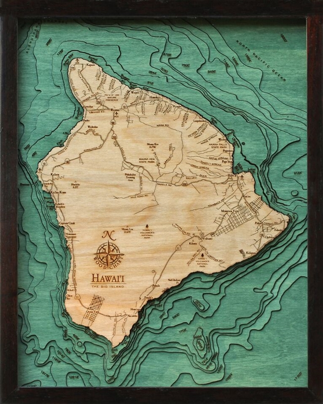 3D Hawaii The Big Island Nautical Real Wood Map Depth Decorative Chart