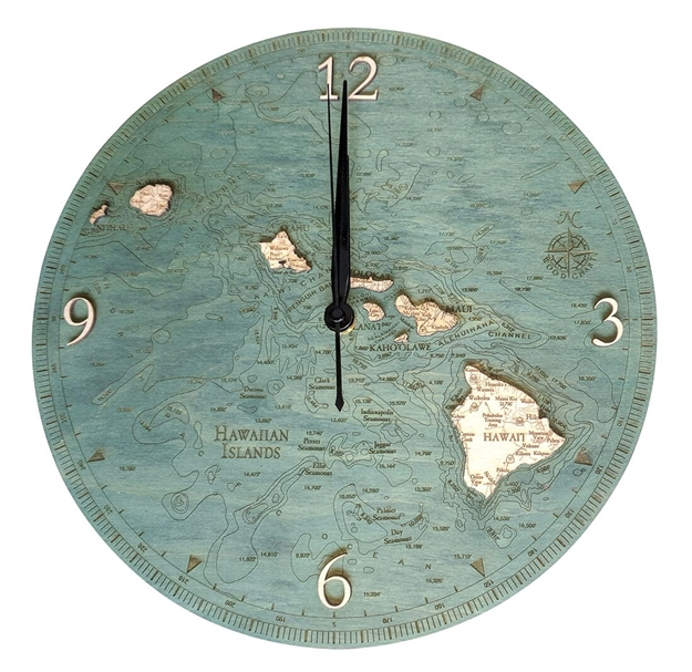 3D Hawaiian Islands Real Wood Decorative Clock