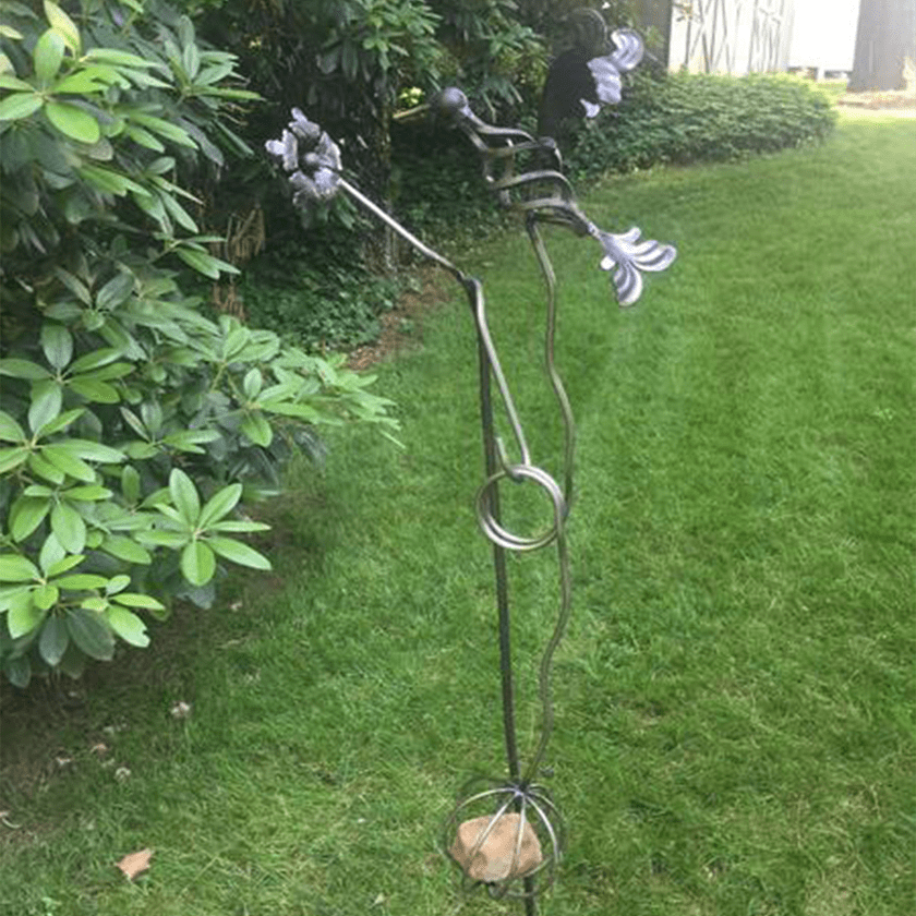 Garden Art Sculpture: Hummingbird Swing Kinetic Garden Sculpture