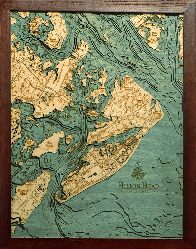 Hilton Head Nautical Topographic Art: Bathymetric Real Wood Decorative Chart