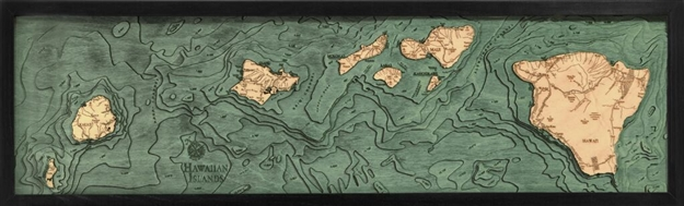 3D Hawaiian Islands Nautical Real Wood Map Depth Decorative Chart