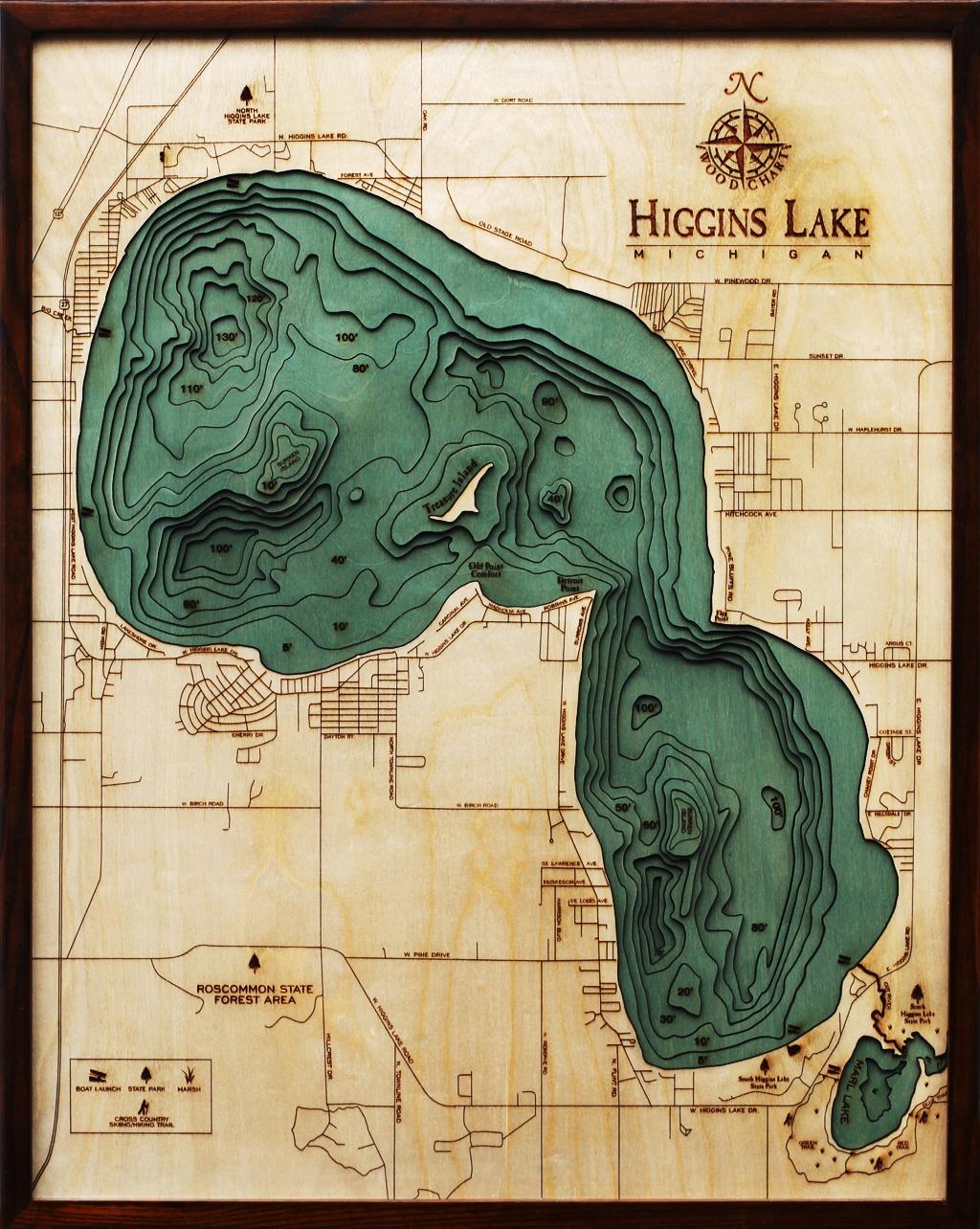 Higgins Lake Nautical Real Wood Map Depth Decorative Chart