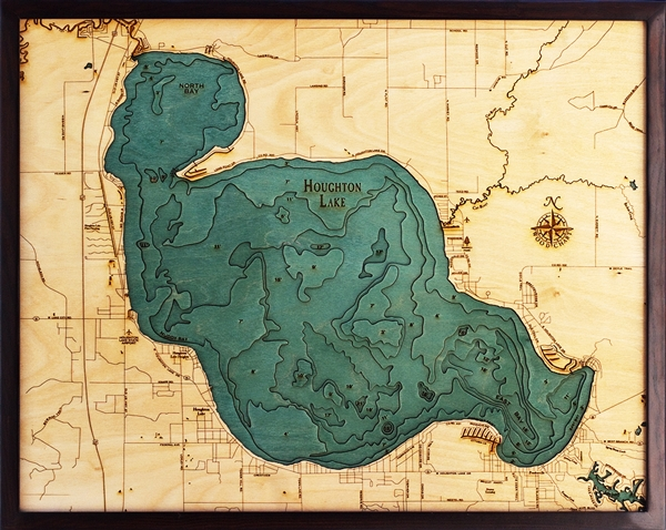 3D Houghton Lake Nautical Real Wood Map Depth Decorative Chart