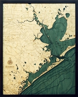 Houston and Galveston Nautical Topographic Art: Bathymetric Real Wood Decorative Chart