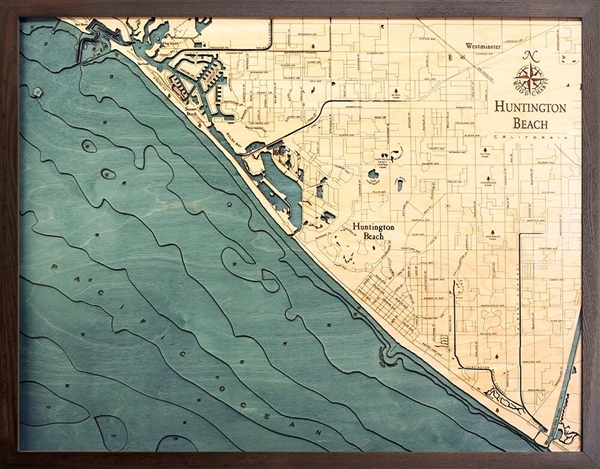3D Huntington Beach Nautical Real Wood Map Depth Decorative Chart