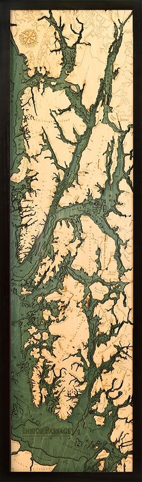 3D Inside Passage Nautical Real Wood Map Depth Decorative Chart