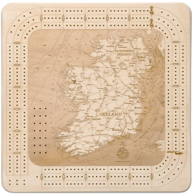 Ireland Real Wood Decorative Cribbage Board